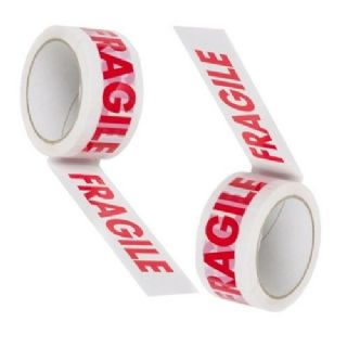 6 ROLLS OF FRAGILE PRINTED PARCEL PACKING TAPE 50mm x 50M
